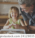 Little Girl Grandfather Bake Cookie Concept 24129035
