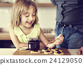 Little Girl Grandfather Bake Cookie Concept 24129050