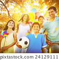 Family Playing Outdoors Children Field Concept 24129111