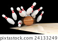 Bowling strike, scattered skittle and bowling ball 24133249