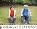 Senior couple doing exercise 24136559