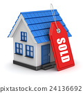 3d blue house and sold tag 24136692