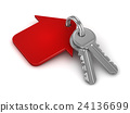 3d key chain with red house 24136699