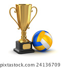 Golden cup and volleyball 24136709