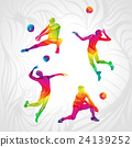 Vector volleyball silhouettes rainbow collection 24139252
