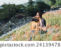 Portrait asia women with guitar 24139478