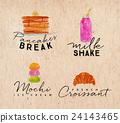 Watercolor label croissant kraft 24143465