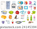Set of household appliances and kitchenware. 24145394