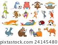 Vector set of animals sport illustrations. 24145480