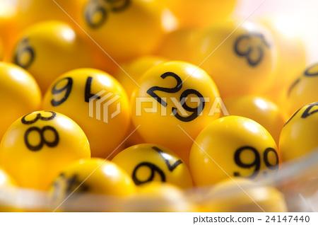 Background of yellow balls with bingo numbers 24147440