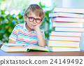 frustrated little schoolboy with glasses and books 24149492