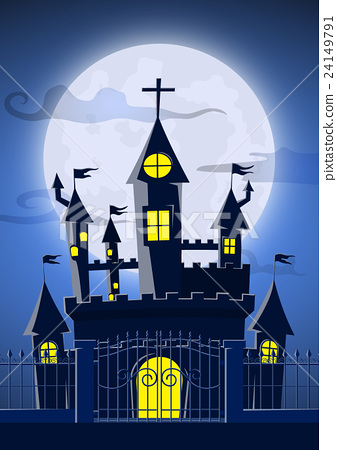 Spooky ghost castle with full moon in background 24149791