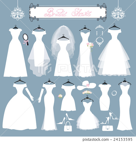 Wedding dresses,accessories set.Fashion flat 24153595