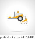 Plowing tractor flat color vector icon 24154401