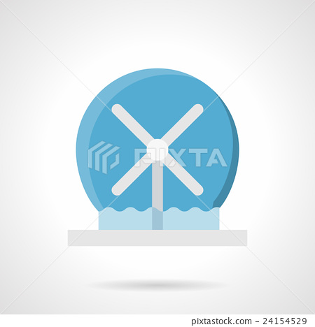 Stock Illustration: Rotating water fountain flat color vector icon