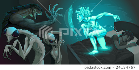 Fighting scene between my astral body and aliens 24154767