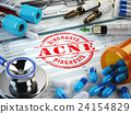 ACNE  diagnosis. Stamp, stethoscope, syringe 24154829