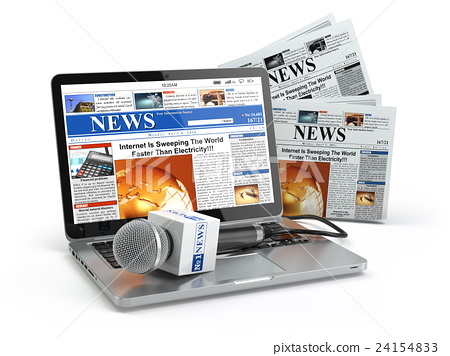News concept. Laptop with microphone and newspaper 24154833