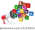 Megaphone with cloud of application icons. 24154834