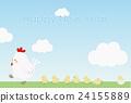 公雞 新年賀卡材料 走路 24155889
