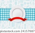 Restaurant menu design with plate and ribbon 24157687