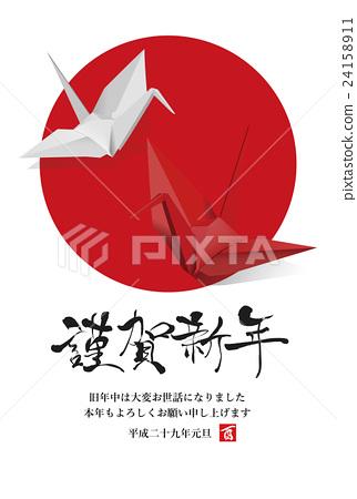 公鸡 纸鹤 新年贺卡 24158911