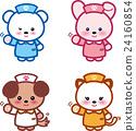 동물 간호사 귀여운 동물 간호사 곰 토끼 씨 개 씨 고양이 씨 발자국 24160854