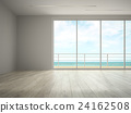 Interior of empty room with sea view 3D rendering 24162508