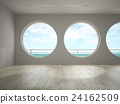 Interior of empty room with sea view 3D rendering 24162509