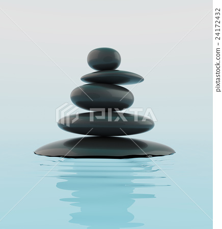 Stack of black zen stones in water. 24172432