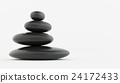 Stack of black zen stones on white floor. 24172433