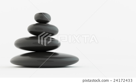 Stack of black zen stones on white floor. 24172433