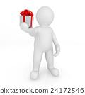3d blank man holding gift box. 24172546