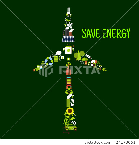 Wind turbine symbol with saving energy flat icons 24173051