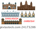 Temples, mosques of Cambodia and Bangladesh icon 24173286