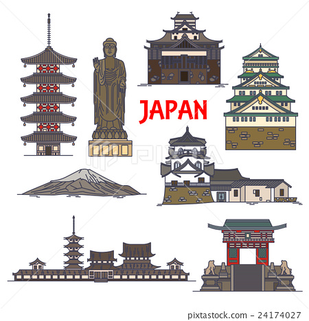 Travel landmarks of Japan colorful thin line icon 24174027
