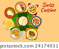 Swiss cuisine traditional dishes flat icon 24174031