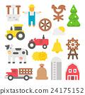 Flat design farm items set 24175152