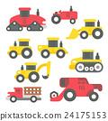 Flat design tractors set 24175153