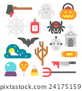 Flat design Halloween items set 24175159