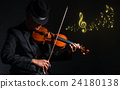 Violin player in dark studio with music notes, Musical concept 24180138