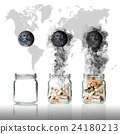 Cigarette butt in bottle with smoke Burning the world on world map background, world no tobacco day, Elements of this image furnished by NASA 24180213