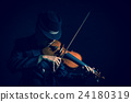 Close up Violin player in dark studio, Musical concept 24180319