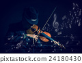 Violin player in dark studio with music notes or melody, Musical concept 24180430