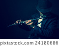 Flute music playing flutist musician performer on black background, musical instrument 24180686