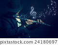 Flute music playing flutist musician performer with music notes on black background, musical instrument 24180697