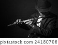 Flute music playing flutist musician performer on black background, musical instrument 24180706