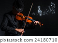 Violin player in dark studio with music notes, Musical concept 24180710