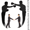 Asian businessman handshake with fighting shadow 24183229