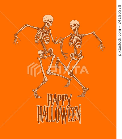 Dancing skeletons for halloween party poster 24186528